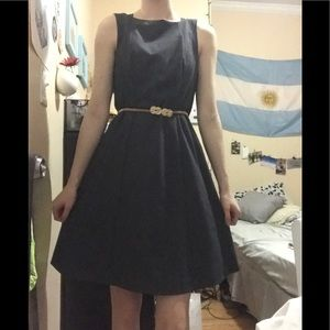 H&M Gray Fit and Flare Work Dress